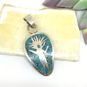 Turquoise Silver 925 Southwest Boho Pendant